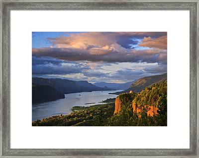 Sunset Over Crown Point Framed Print by Jon Ares
