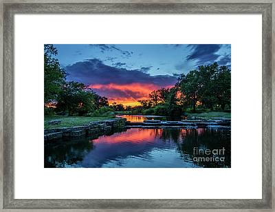 Sunset Over Deer Lake In Forest Park, St Louis, Missouri Framed Print by Garry McMichael