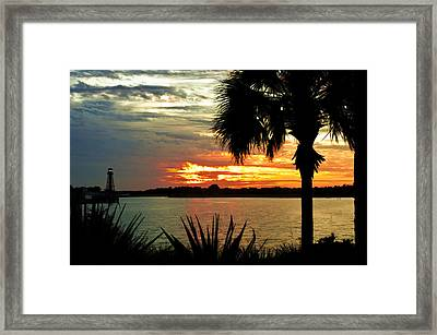 Sunset Over Lake Sumter Landing Framed Print by Betty Eich