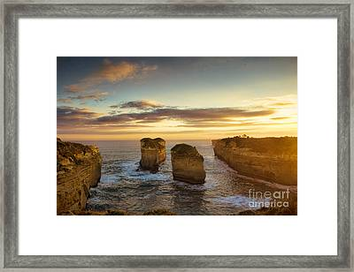 Sunset Over Loch Ard Gorge With Topaz Effect Framed Print by Josephine Caruana