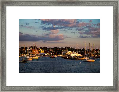 Sunset Over Newport Framed Print by Karol Livote