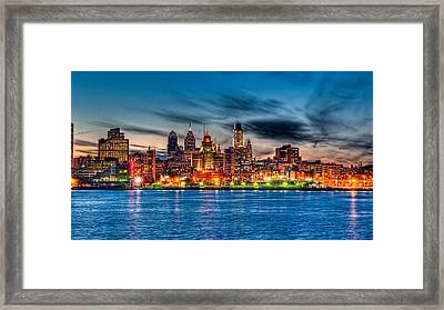 Sunset Over Philadelphia Framed Print by Louis Dallara