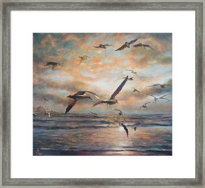 Sunset Over The Sea Framed Print by Vali Irina Ciobanu
