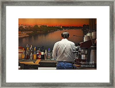 Sunset Over The Guadalquivir River Framed Print by Mary Machare