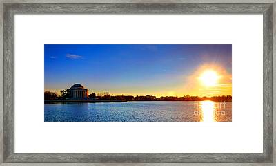 Sunset Over The Jefferson Memorial  Framed Print by Olivier Le Queinec