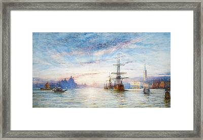 Sunset Over The Venetian Lagoon Framed Print by Thomas Hale Sanders
