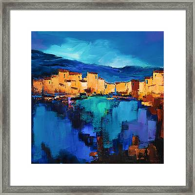 Sunset Over The Village 3 By Elise Palmigiani Framed Print by Elise Palmigiani