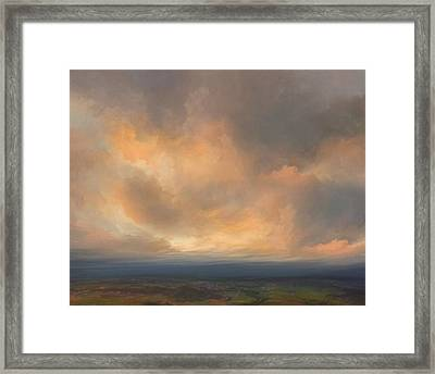 Sunset Over Valley Framed Print by Lonnie Christopher