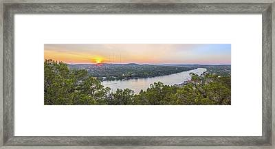 Sunset Panorama From Mount Bonnell Austin Texas Framed Print by Rob Greebon