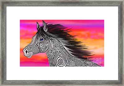 Sunset Ride Tribal Horse Framed Print by Nick Gustafson