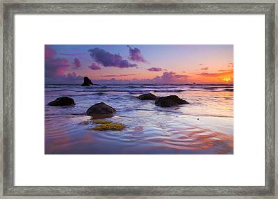 Sunset Ripples Framed Print by Mike  Dawson