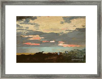 Sunset, Saco Bay Framed Print by Winslow Homer