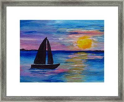 Sunset Sail Small Framed Print by Barbara McDevitt
