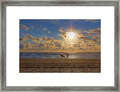 Sunset Surfers Framed Print by Nadia Sanowar