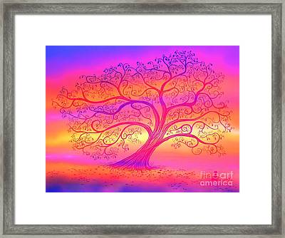 Sunset Tree Cats Framed Print by Nick Gustafson