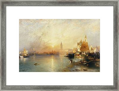 Sunset Venice Framed Print by Thomas Moran