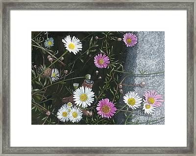 Sunshine On Bathwick Hill Floral Painting Framed Print by David Elliston
