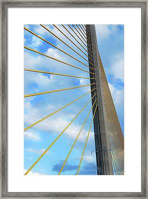 Sunshine Skyway Bridge Angle Framed Print by Amanda Vouglas