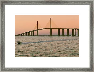 Sunshine Skyway Bridge Framed Print by Ixefra
