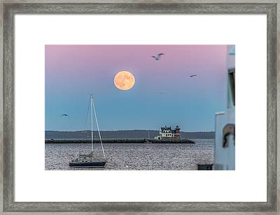 Super Harvest Moon Over Rockland Breakwater Framed Print by Tim Sullivan