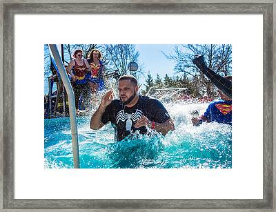 Super Heros Doing Polar Plunge Framed Print by William Wight