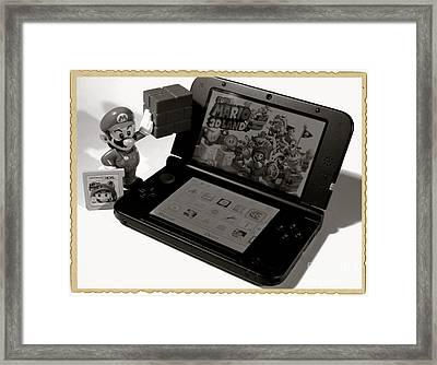 Super Mario Black And White Framed Print by Stefano Senise