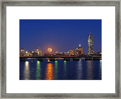Super Moon Over Boston Framed Print by Juergen Roth