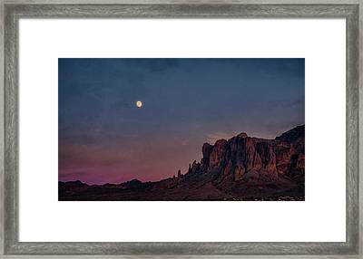 Super Moon Over The Superstitions  Framed Print by Saija Lehtonen