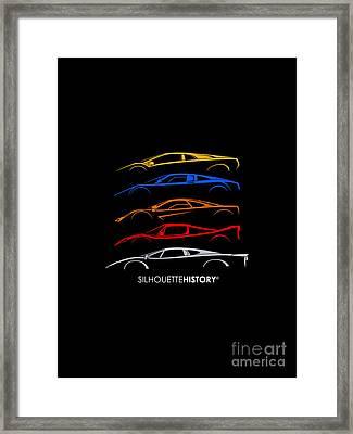 Supercar Of 90s Silhouettehistory Framed Print by Gabor Vida