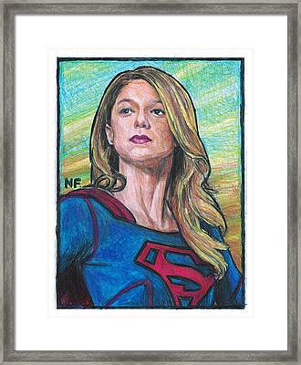 Supergirl As Portrayed By Actress Melissa Benoit Framed Print by Neil Feigeles