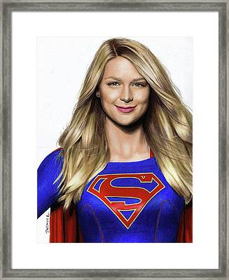Supergirl Drawing Framed Print by Jasmina Susak