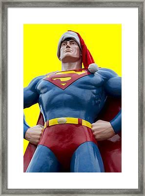 Superman Santa Framed Print by Stephen Stookey
