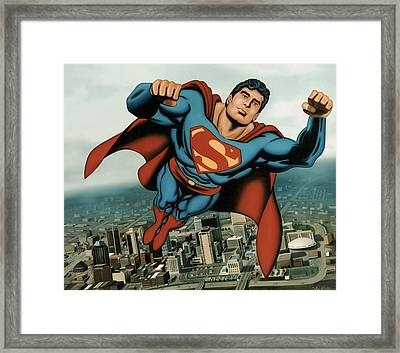 Superman Framed Print by Van Cordle