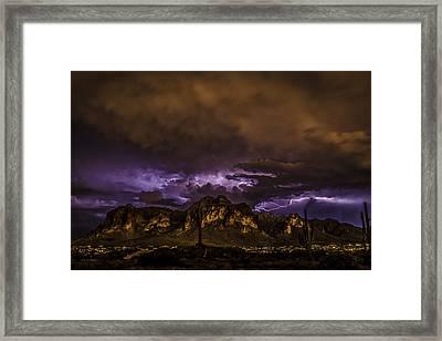 Superstition Lightning Framed Print by Chuck Brown