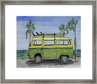 Surf Art Vw Bus And Long Boards  Framed Print by W Gilroy