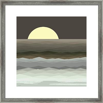 Surf At Moonrise Framed Print by Val Arie