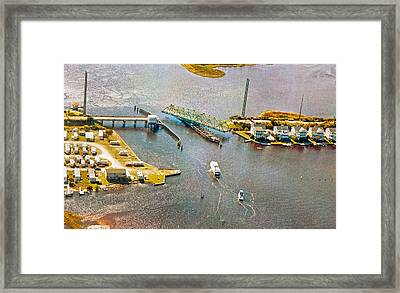 Surf City Swing Bridge Framed Print by Betsy Knapp