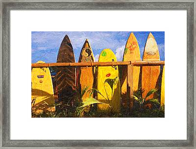 Surfboard Garden Framed Print by Ron Regalado