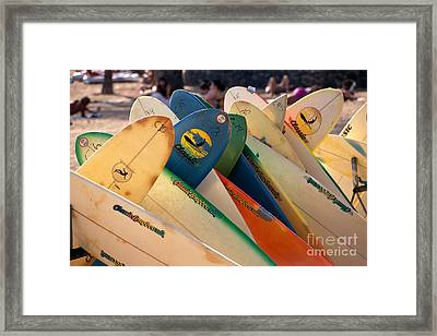 Surfboards For Rent Framed Print by William Waterfall - Printscapes