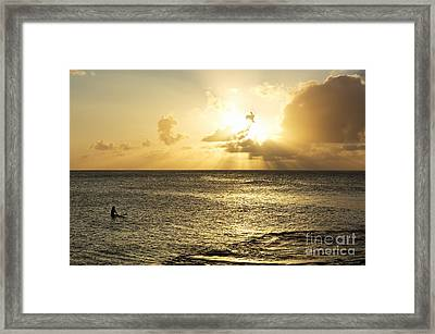 Surfer And Sunset - North Shore Framed Print by Charmian Vistaunet
