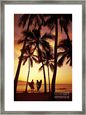Surfer Couple Framed Print by Dana Edmunds - Printscapes