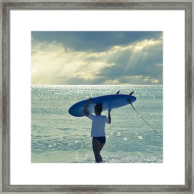 Surfer Girl Square Framed Print by Laura Fasulo