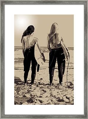 Surfer Girls Framed Print by Brad Scott