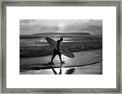 Surfer Heading Home Framed Print by Catherine Sherman