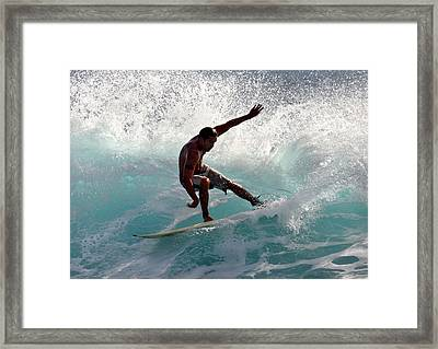 Surfer Slashing The Blue Waves At Dumps Maui Hawaii Framed Print by Pierre Leclerc Photography