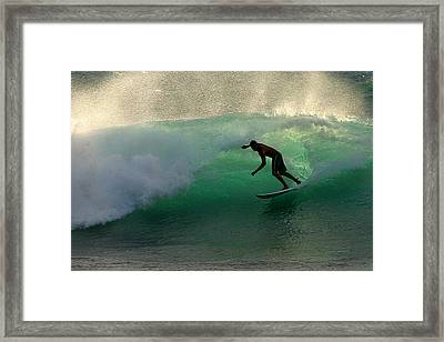 Surfer Surfing Blue Waves At Dumps Maui Hawaii Framed Print by Pierre Leclerc Photography