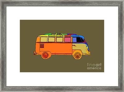 Surfer Van Transparent Framed Print by Edward Fielding