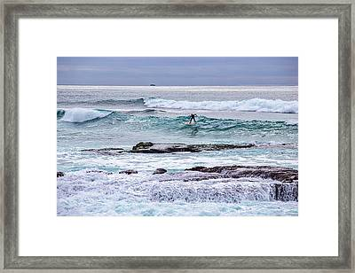 Surfin The Reef Framed Print by Peter Tellone