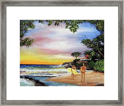 Surfing In Rincon Framed Print by Luis F Rodriguez