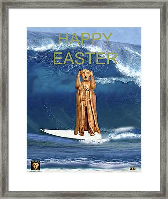 Surfing The Scream World Tour Happy Easter Framed Print by Eric Kempson